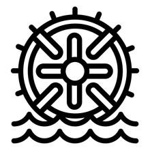 Water Wheel Energy Icon. Outli...