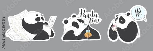 Set of doodle pandas cute cartoon for decoration design Canvas Print