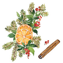 Watercolor Christmas Floral Arrangement Of Evergreens And Spices. Orange, Cinnamon, Spruce And Holly Berries