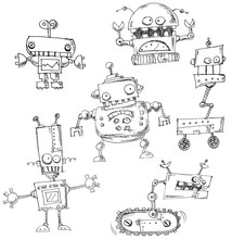 Robot Doodles Isolated