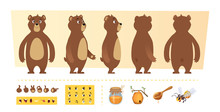 Cartoon Bear Animation. Cute Wild Animal Body Parts And Nature Items Honey Trees Vector Character Creation Kit. Illustration Of Animal Bear, Wild Grizzly And Sweet