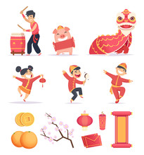 Asian New Year. Happy Chinese People Celebrate 2019 With Traditional Symbols Dragons Lantern Firecrackers Vector Pictures. Illustration Of Elements For Chinese New Year Pig, Dance Festival China