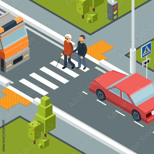 Care person crossing street Fototapete