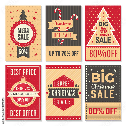 Poster Affiche vintage Christmas sale banners. New year special offers and discounts deals labels coupon vector template. Poster discount holiday, winter offer illustration