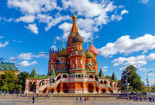 St Basil's Cathedral And Moscow Kremlin