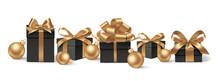 Set Of Decorative Black Gift B...