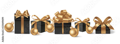 Spoed Foto op Canvas Wanddecoratie met eigen foto Set of decorative black gift boxes with golden bows and gold Christmas balls isolated on white for New Year Sale design. Vector illustration