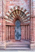 Side Portal, Romanesque-Norman Cathedral St. Magnus, 12th Century, Kirkwall, Mainland, Orkney Islands, Scotland, Great Britain