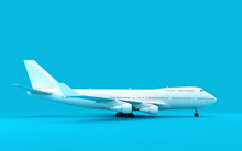 3D Illustration Of Airplane Boeing 747 Stands Still Isolated On Blue Background. Ready To Take-off. Right Side View