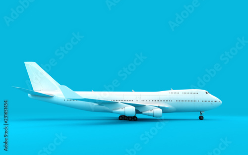 Tela 3D illustration of airplane boeing 747 stands still isolated on blue background