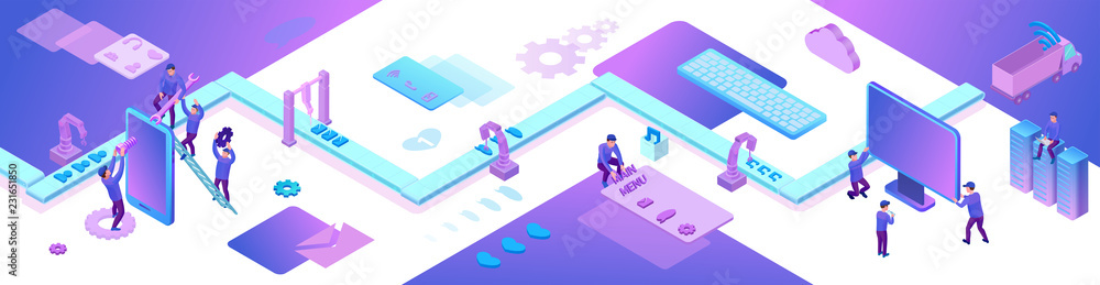 Fototapeta Mobile app and website development 3d isometric concept, software management vector illustration, developer at conveyor building smartphone application, trendy violet background, landing page banner