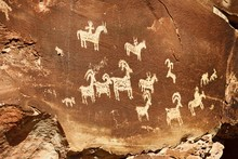 Rock Engravings In Arches National Park, Moab, Utah, USA, North America