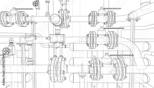 Fotografia  Sketch of industrial equipment. Vector