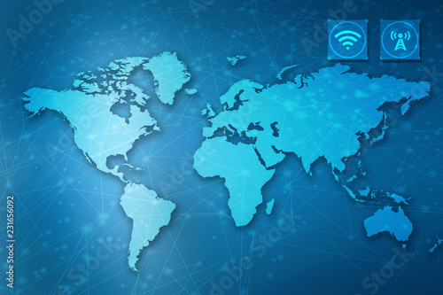 Photo  2d illustration world map abstract background