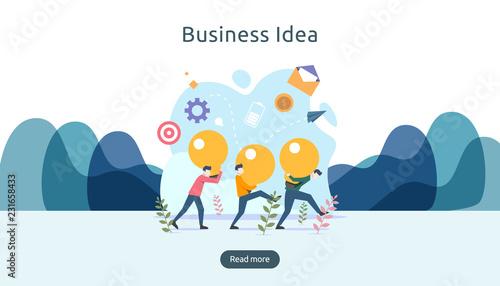 Fototapeta teamwork business brainstorming Idea concept with big yellow light bulb lamp, tiny people character. creative innovation solution. template for web landing page, banner, presentation, social media obraz na płótnie