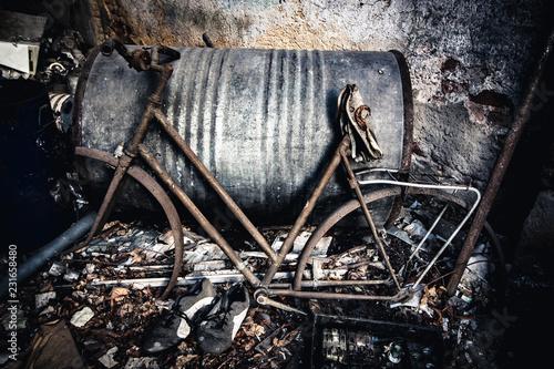 Tuinposter Fiets abandoned broken vintage bike frame