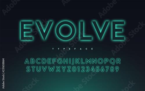 Obraz Vector trendy neon light or eclipse style glowing font design, a - fototapety do salonu