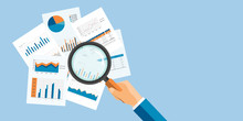 Vector Web Banner For Business  Analytic Finance Graph Report And Business Investment Planning Concept