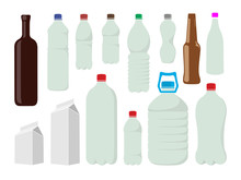 A Set Of Plastic, Metal And Paper Bottles And Liquid Bags