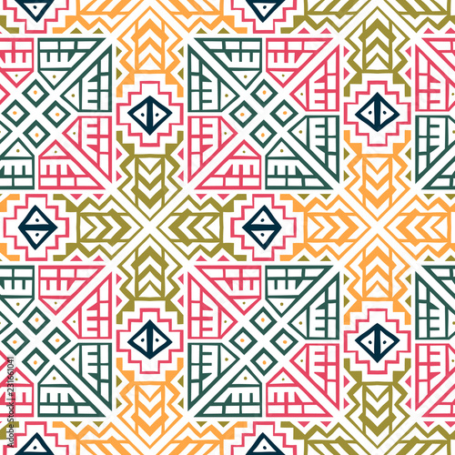 Geometric seamless pattern created in trendy ethnic style Canvas Print