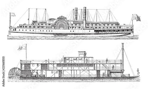 Valokuvatapetti Old steamships / vintage illustration from Meyers Konversations-Lexikon 1897