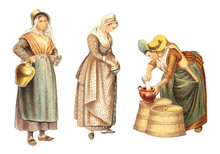 Historical Milk Maid Fashion - From Antwerp - Belgium (left) And Amsterdam - The Netherlands (right) / Vintage Illustration From Meyers Konversations-Lexikon 1897