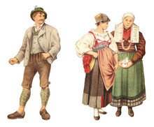 Historical German Fashion - Farmer (left) And Girl And Country Woman (right) / Vintage Illustration From Meyers Konversations-Lexikon 1897