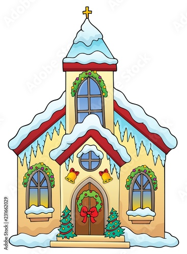 Tuinposter Voor kinderen Christmas church building theme image 1