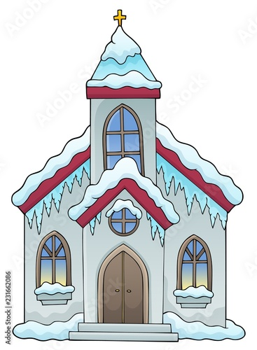 Tuinposter Voor kinderen Winter church building theme image 1