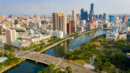 Poster Texas Aerial View Of Houjin River ,kaohsiung City At Taiwan