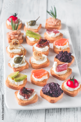 Crostini with different toppings Canvas Print