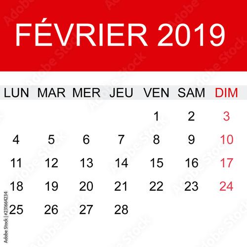 Febrero 2019 Calendario.Calendario Febrero 2019 En Frances Buy This Stock Vector And