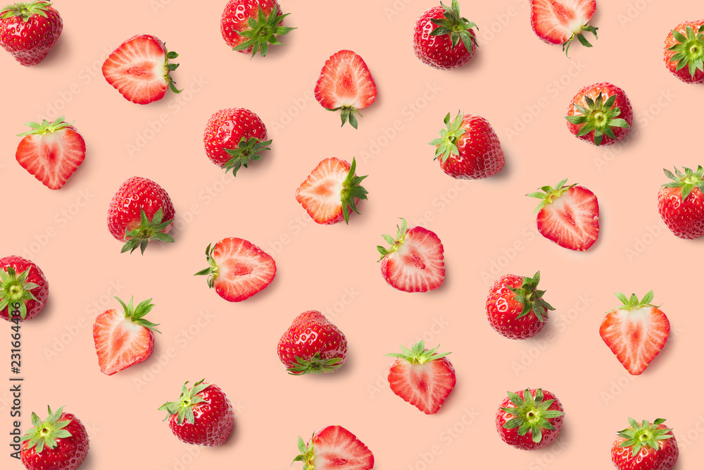 Fototapety, obrazy: Colorful pattern of strawberries