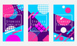 Stories template memphis style. Geometric objects of the 80s and 90s. Vector illustration