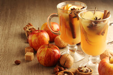 Two Cups With Hot Cider In Cold Season With Cinnamon And Anise