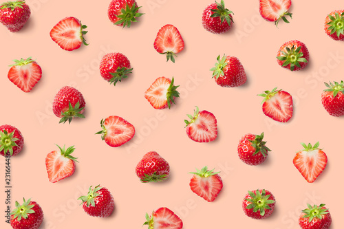 Colorful pattern of strawberries