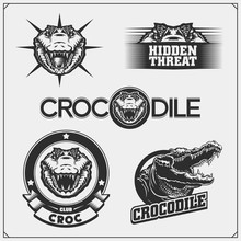 The Emblems With Crocodile For A Sport Team. Crocodile Labels, Badges And Design Elements.