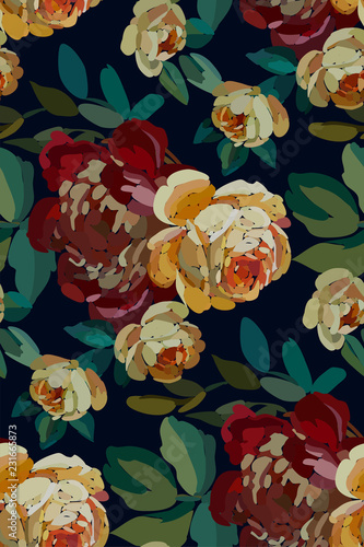 Garden Poster Pink Vintage floral seamless background pattern. Blooming garden flowers. Vector illustration in hand drawn style..