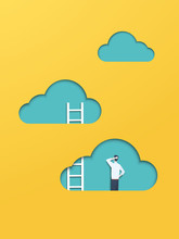 Business Career Corporate Ladder Climbing Vector Concept With Businessman Figure. Symbol Of Promotion, Opportunity, Challenge, Achievement, Motivation, Ambition,