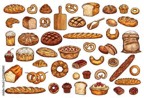 Pastry shop products bread and bakery Poster Mural XXL