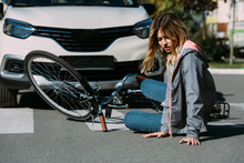 Young Woman Mowed Down By Car On Road, Car Accident Concept