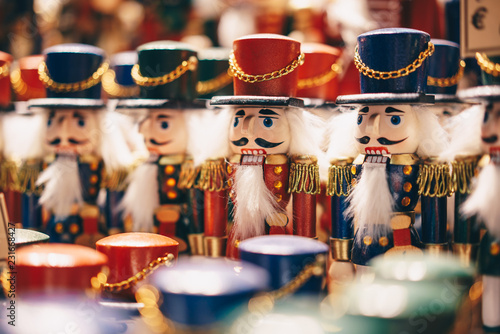 Photo sur Toile Europe Centrale Handcrafted wood toy Nutcrackers sold in Salzburg Christmas Market