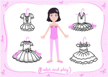 Young Girl As Little Ballet Dancer. Dress Up Paper Doll In Cartoon Style With Ballet Tutus In Black And White. Color, Cut And Play.
