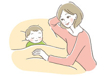 子供と母親 寝かしつ...