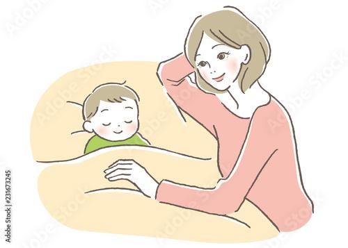 Obraz 子供と母親 寝かしつけ - fototapety do salonu