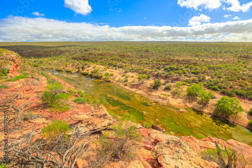 Foto op Aluminium Oceanië Spectacular view from Hawks Head lookout in Kalbarri National Park, Mid West region of Western Australia.The gorges and formations carved by the Murchison River attract thousands of visitors each year
