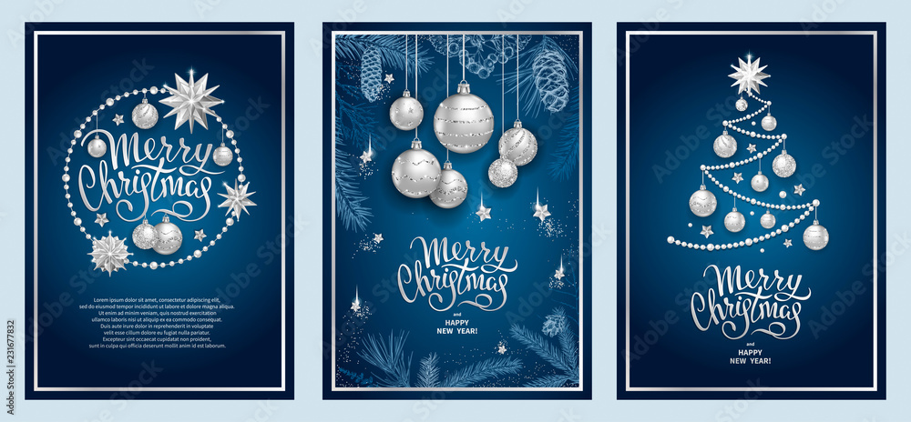 Fototapeta Set of three card Merry Christmas and Happy New Year. Christmas tree, silver glass balls, stars, sequins and elegant lettering on blue background. Sketch of branches fir tree, cedar, pine and cones