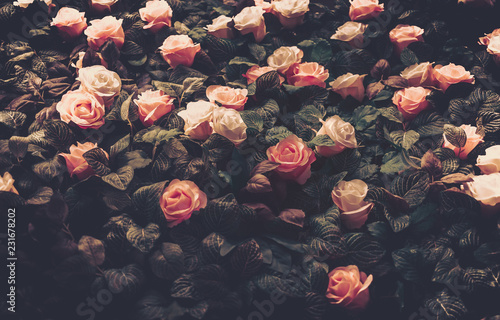 Foto auf Leinwand Blumen Artificial Flowers Wall for Background in vintage style