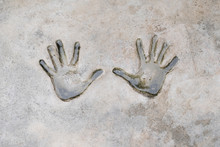 Fingerprints Of Human On Cement. Background And Texture Of Fingerprints. Wet And Dirty Of Fingerprints Human On Cement.