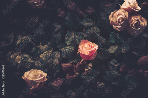 Artificial Flowers Wall for Background in vintage style - 231679666